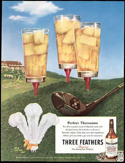 Three Feathers Whiskey Golf Club Tees Highballs (1947)