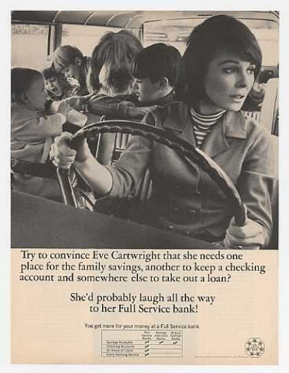 Eve Cartwright & Kids in Car Full Service Bank (1967)
