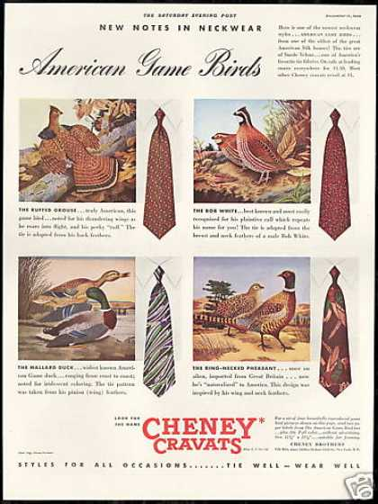 Cheney Mens Ties Game Birds Grouse Duck (1939)