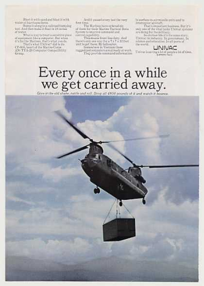 Marines Helicopter Carry Univac Computer Photo (1967)