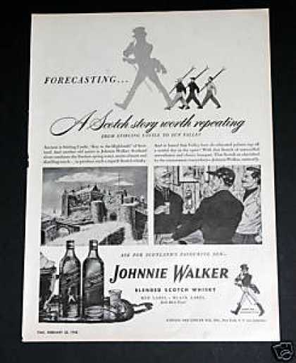 """Johnnie Walker Scotch Whisky"" Ad, Exc (1948)"
