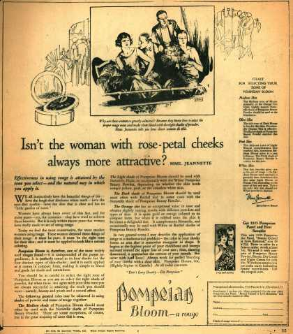 Pompeian Bloom's rouge – Isn't the woman with rose-petal cheeks always more attractive? (1925)