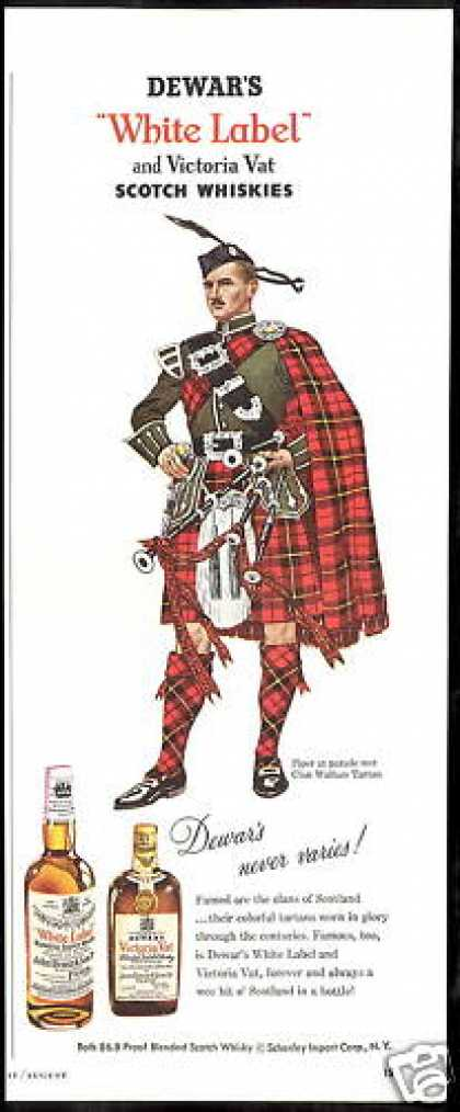 Dewar's Scotch Clan Wallace Tartan Piper (1954)
