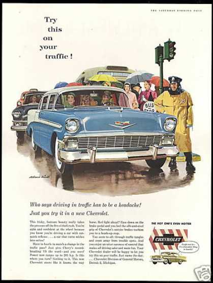 Chevrolet 4dr Car Policeman Blindle Art (1956)