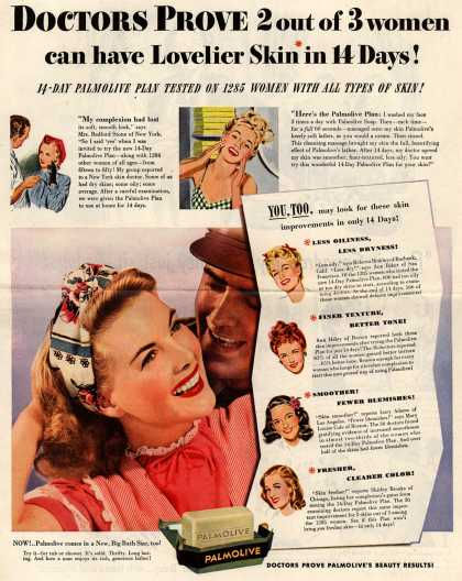 Palmolive Company's Palmolive Soap – Doctors Prove 2 out of 3 women can have Lovelier Skin in 14 Days! 14-Day Palmolive Plan Tested On 1285 Women With All Types Of Skin (1945)