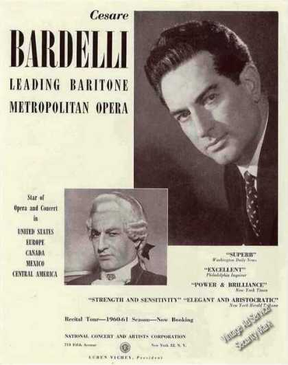 Cesare Bardelli Photo Baritone Opera Booking (1960)