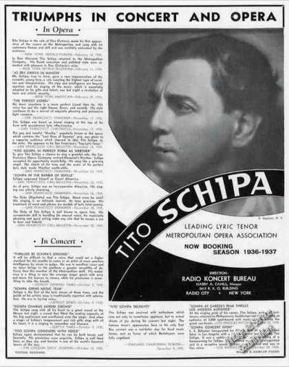 Tito Schipa Triumphs In Concert & Opera Booking (1936)