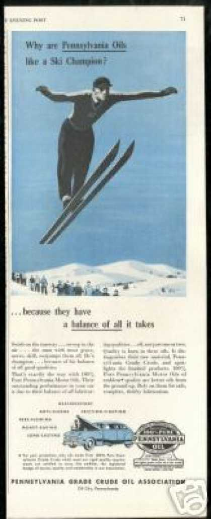 Snow Ski High Jumper Pennsylvania Oil (1946)