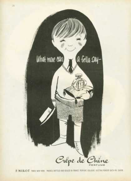 Millot Crepe De Chine Paris Perfume Ad Little Boy (1958)