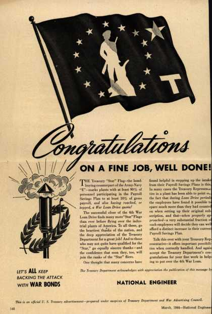 "U. S. Treasury Dept.'s Treasury ""Star"" Flag – congratulations On A Fine Job, Well Done (1944)"