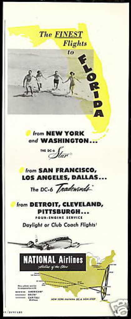 National Airlines DC-6 DC6 System Map (1952)