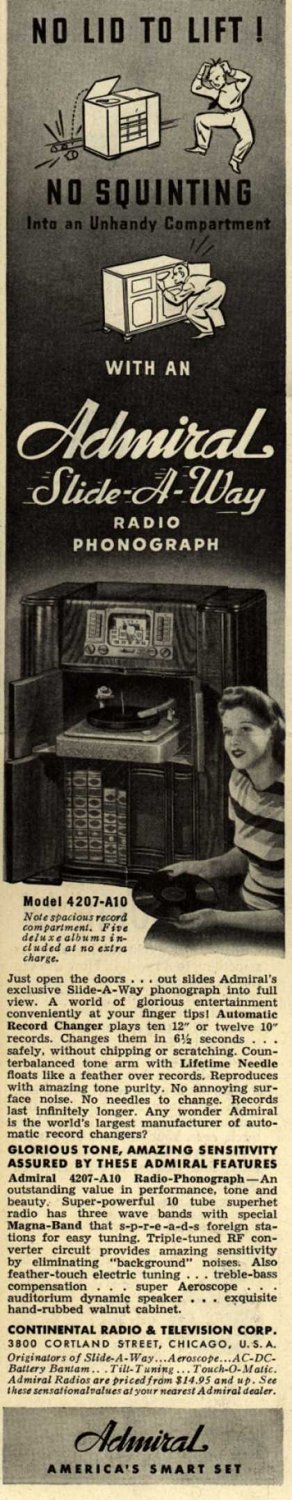 Admiral Radio's Radio – No Lid to Lift! No squinting (1941)
