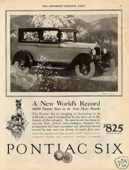 "Pontiac Six Car Ad ""A New World's Record... (1926)"