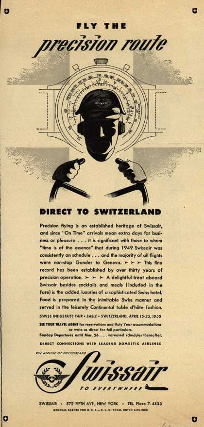 SwissAir's Switzerland – Fly the precision route Direct to Switzerland (1950)