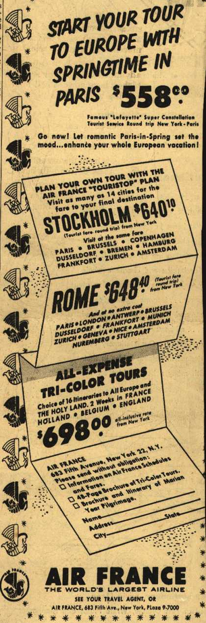 Air France's Paris, Stockholm, Rome – Start Your Tour To Europe With Springtime In Paris $558.00 (1954)