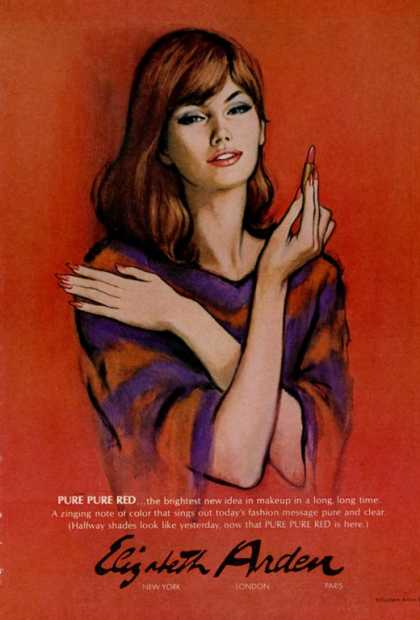 Elizabeth Arden Pure Red Lipstick Art (1966)