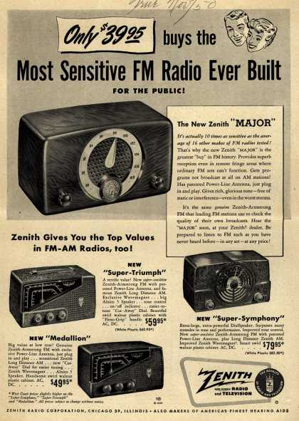 Zenith Radio Corporation's Various – Only $39.95 buys the Most Sensitive FM Radio Ever Built For The Public (1950)
