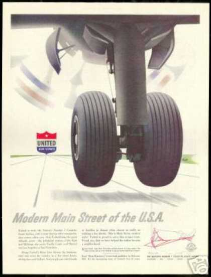 United Airlines Airplane Tire Art Vintage (1951)