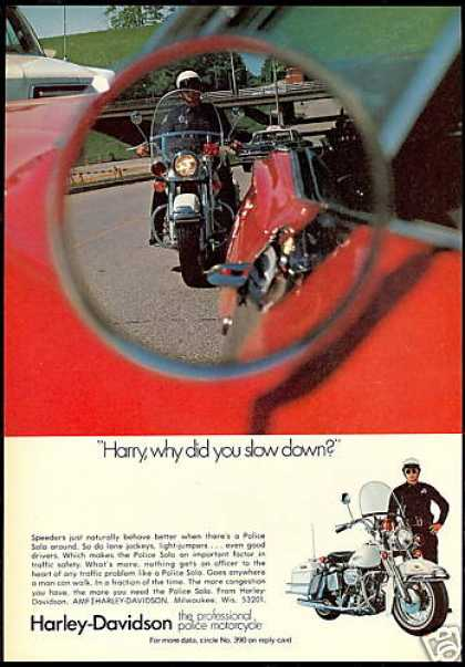 Harley Davidson Police Motorcycle Slow Down (1971)