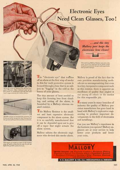 P.R. Mallory and Company, Incorporated's Electronics – Electronic Eyes Need Clean Glasses, Too (1948)