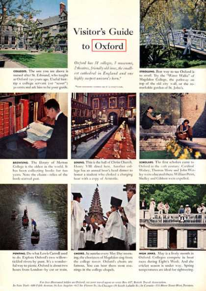 British Travel Ad Visiting Oxford England (1963)