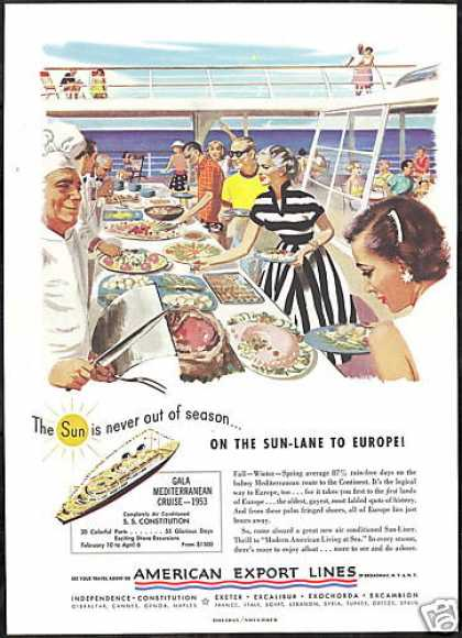 American Export Lines Cruise Ship Buffet (1952)