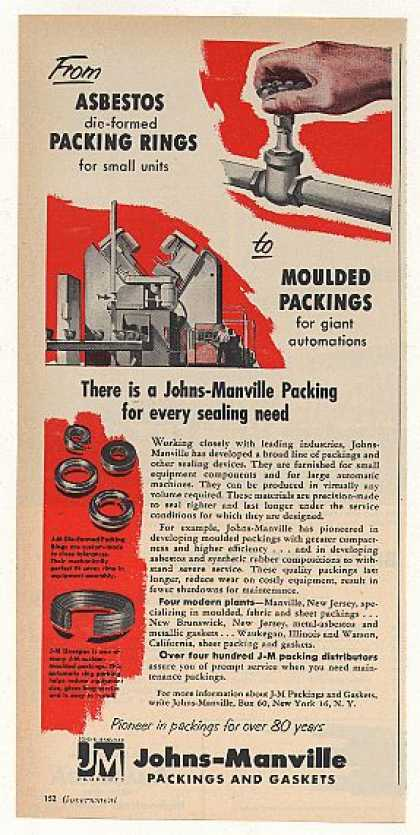 Johns-Manville Asbestos Packing Rings Gaskets (1955)