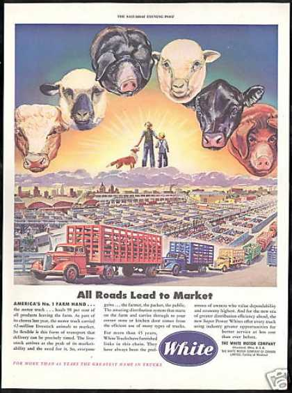 White Truck Farm Animals Market Cow Pig Sheep (1946)