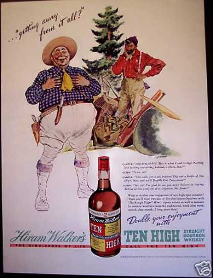Ten High Bourbon Whiskey Camping (1938)