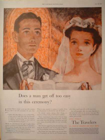 Travelers Insurance wedding theme Man get off too easy (1950)
