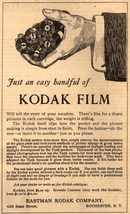 Kodak – Just an easy handful of Kodak Film (1912)