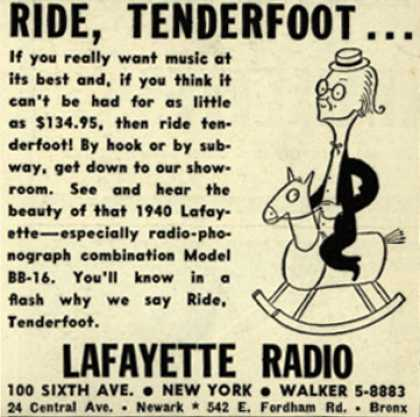 Lafayette Radio's Radio Phonograph – Ride, Tenderfoot... (1940)