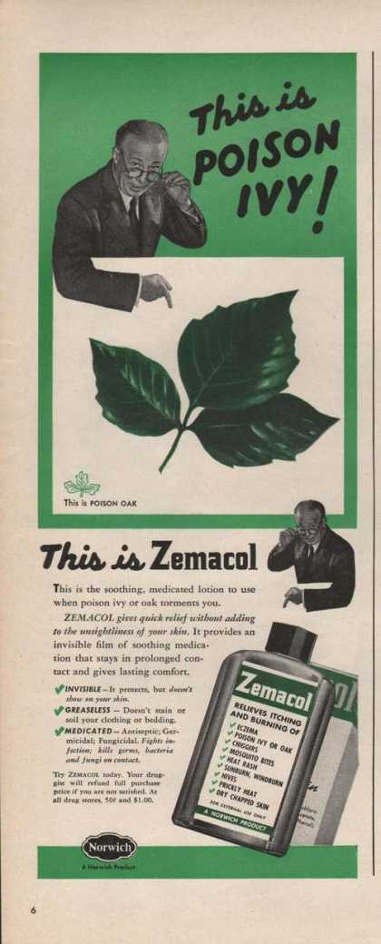 Zemacol Relieves Itching & Burning Print A (1946)