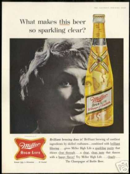 Miller High Life Beer Bottle Vintage Photo (1961)