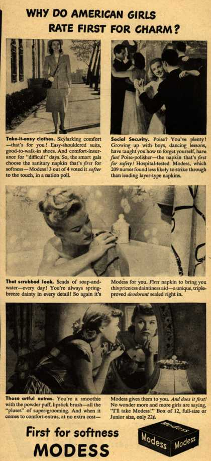 Modes's Sanitary Napkins – Why Do American Girls rate First For Charm? (1946)