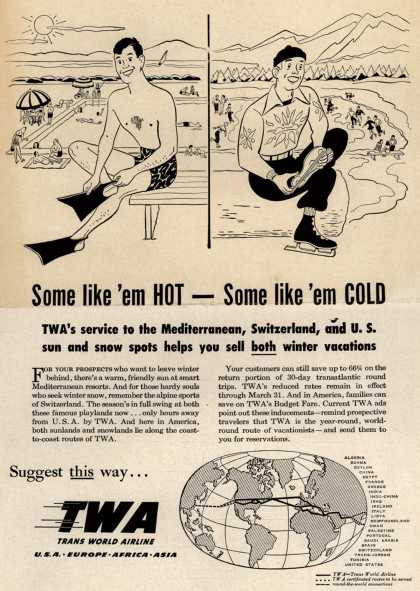 Trans World Airline's Vacation Travel – Some like 'em Hot- Some like 'em cold (1949)