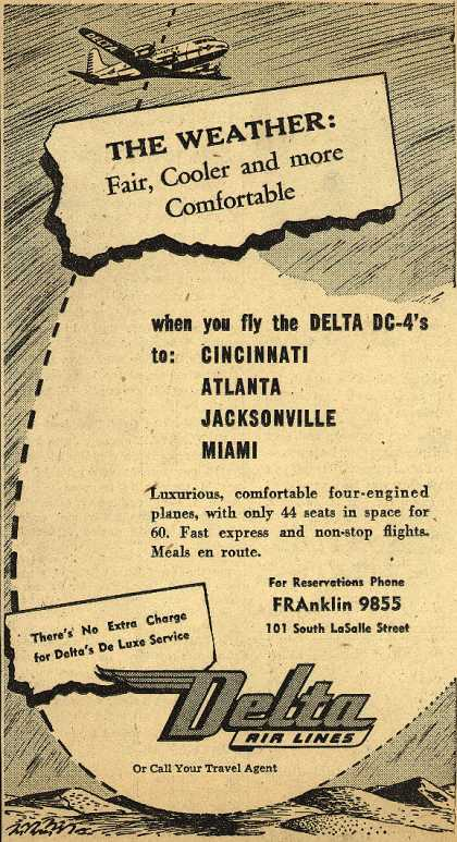 Delta Airline's Various destinations – The Weather: Fair, Cooler, and more Comfortable (1947)