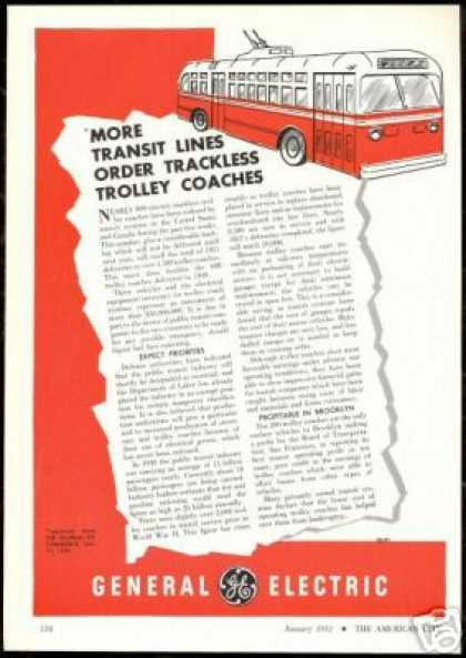 GE G.E. General Electric Trolley Coach Bus (1951)