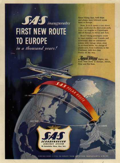 Scandinavian Airlines System's Europe – SAS inaugurates First New Route to Europe in a thousand years (1954)