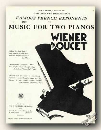 Wiener Doucet Music for Two Pianos Rare (1931)