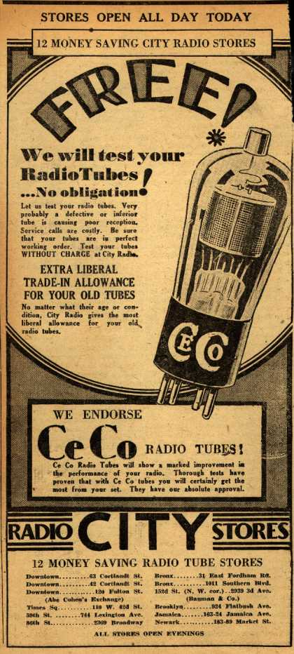 CeCo Manufacturing Company's Radio Tubes – Free! We will test your radio tubes (1930)