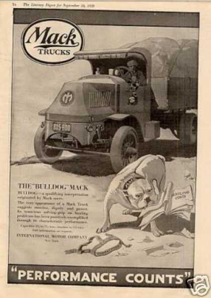 "Mack Truck Ad ""The Bulldog Mack"" (1920)"