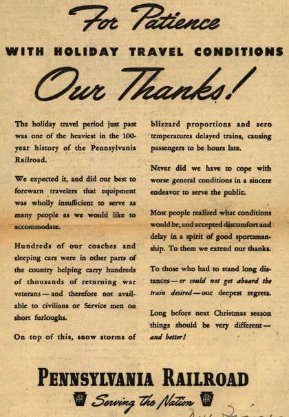 Pennsylvania Railroad – For Patience With Holiday Travel Conditions Our Thanks (1946)