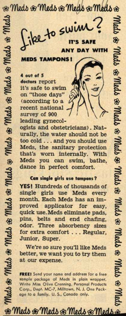 Personal Products Corporation's Meds Tampons – Like to swim? (1952)