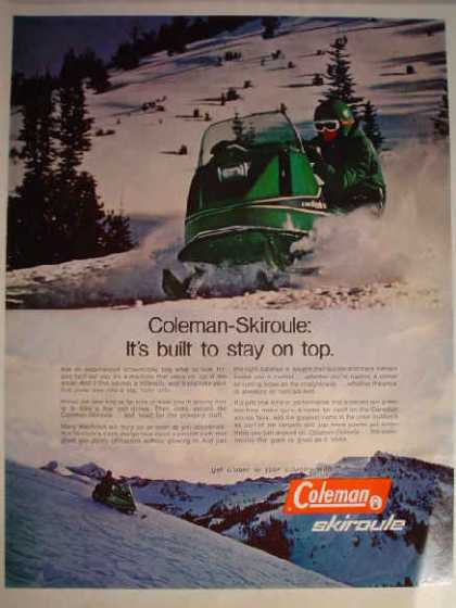 Coleman Skiroule snowmobile Built to stay on top (1970)