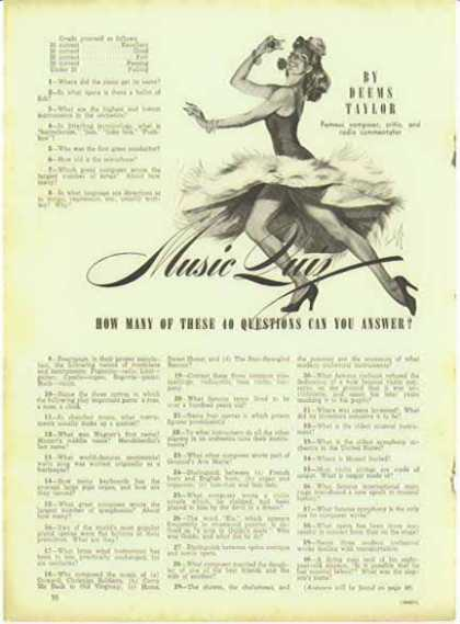 MUSIC QUIZ by Deems Taylor Magazine Article – 2 pages (1941)