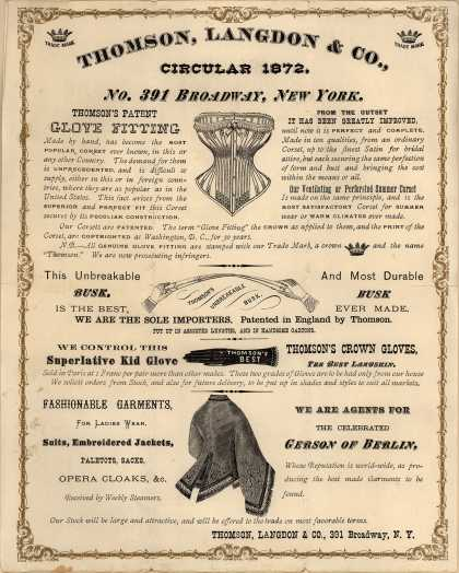 Thomson, Langdon & Co.'s underwear and outer wear – Circular 1872 (1872)