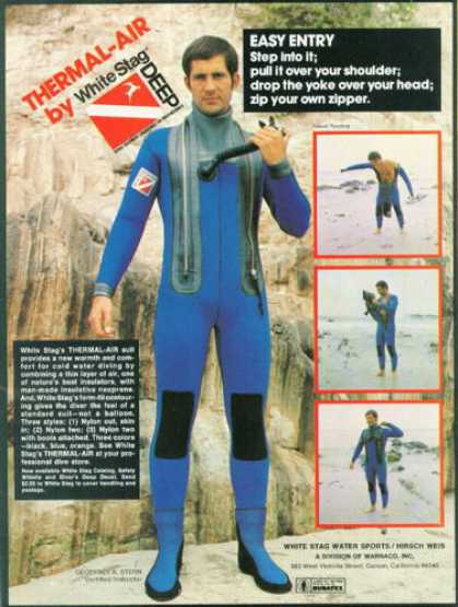 White Stag Thermal Air Scuba Diving Diver Suit (1976)