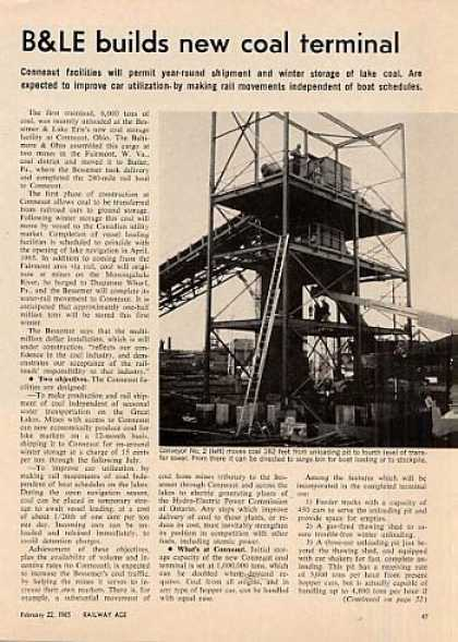 """B&le Builds New Coal Terminal"" Article/conneau (1965)"