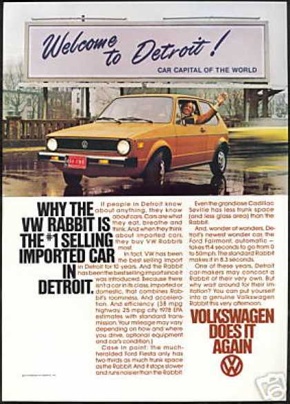 VW Volkswagen Rabbit Detroit Car Capital (1978)